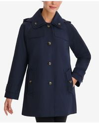 London Fog Single-breasted Hooded Raincoat - Blue