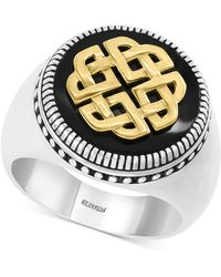 Effy Collection - Onyx (16mm) Ring In Sterling Silver & 18k Gold Plate - Lyst