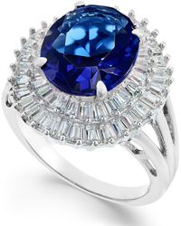 Macy's - Simulated Sapphire & Cubic Zirconia Double Halo Ring In Sterling Silver - Lyst