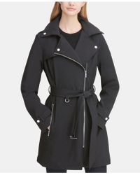 e06e20a2ac4 Lyst - Calvin Klein Double-Breasted Asymmetrical-Zip Trench Coat in ...