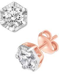 Macy's Diamond Hexagon Frame Stud Earrings (1 Ct. T.w.) In 14k Gold - Metallic