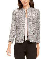 Anne Klein Ann Klein Tweed Mandarin-collar Jacket - Black