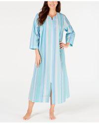 Miss Elaine Printed Seersucker Long Zip-up Robe - Blue