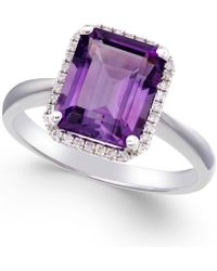 Macy's - Amethyst (2 3/4 Ct. T.w.) And Diamond (1/8 Ct. T.w.) Ring 14k White Gold - Lyst