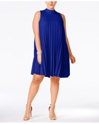 Soprano - Plus Size High-neck Pleated Shift Dress - Lyst