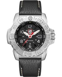 Luminox Navy Seal 3251 Stainless Black Leather Strap Watch