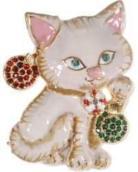 Charter Club Holiday Lane Gold-tone Pavé Ornament Kitten Pin, Created For Macy's - Metallic