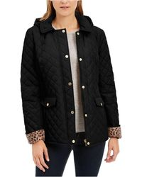 Charter Club Quilted Leopard-print-trim Hooded Jacket, Created For Macy's - Black