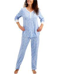 Charter Club Thermal Fleece Printed Pajama Set, Created For Macy's - Blue