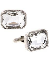 1928 Jewelry Silver-tone Rectangle Crystal Cufflinks - Metallic
