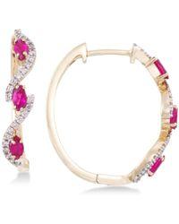 Rare Featuring Gemfields - Certified Ruby (5/8 Ct. T.w.) And Diamond (1/5 Ct. T.w.) Hoop Earrings In 14k Gold - Lyst