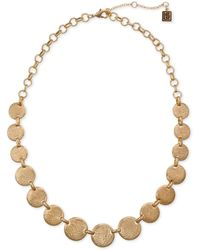 """Laundry by Shelli Segal Gold-tone Textured Disc Collar Necklace, 16"""" + 2"""" Extender - Metallic"""
