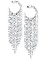 "Swarovski - Silver-tone 3-2/3"" Crystal Hoop & Fringe Chandelier Earrings - Lyst"
