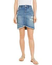 INC International Concepts Inc Destructed Fray-trim Crossover-hem Denim Skirt, Created For Macy's - Blue