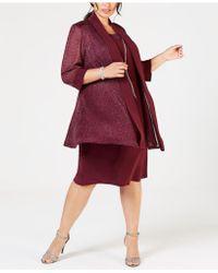 R & M Richards Plus Size Shift Dress & Metallic Jacket - Red