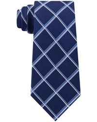 Michael Kors Classic Multi-grid Silk Tie - Blue