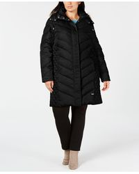 Kenneth Cole Plus Size Faux-fur-trim Hooded Puffer Coat - Black