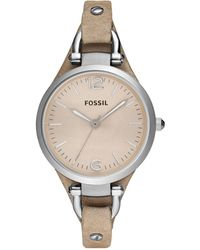 Fossil Women's Georgia Sand Leather Strap Watch 32mm Es2830 - Natural