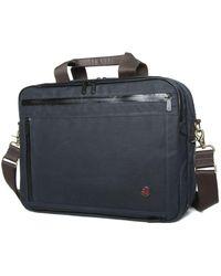 Token Waxed Briefcase - Blue