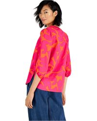 Bar Iii Cotton Printed Balloon-sleeve Blouse, Created For Macy's - Pink