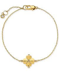 Kate Spade Gold-tone Crystal Flower Flex Bracelet - Metallic
