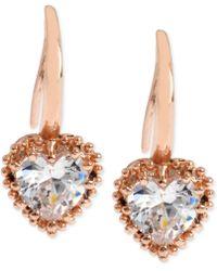 Betsey Johnson - Rose Gold-tone Crystal Heart Drop Earrings - Lyst