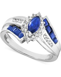 Macy's - Sapphire (1-1/5 Ct. T.w.) And Diamond Accent Ring In Sterling Silver - Lyst