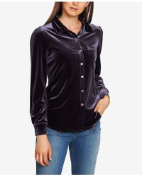 1.STATE - Velvet Button-up Top - Lyst