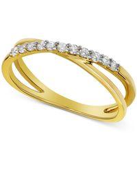 Macy's - Diamond Crisscross Ring (1/5 Ct. T.w.) - Lyst