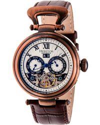 Heritor Automatic Ganzi Bronze Leather Watches 44mm - Brown