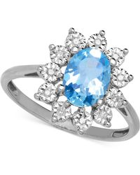 Macy's - Blue Topaz (1-3/8 Ct. T.w.) And Diamond Accent Ring In 14k White Gold - Lyst