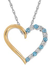 Macy's - Sapphire (1/3 Ct. T.w.) And Diamond Accent Heart Pendant Necklace In 14k Gold And Sterling Silve - Lyst