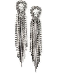 ABS By Allen Schwartz - Two-tone Crystal & Ball Chain Fringe Drop Earrings - Lyst