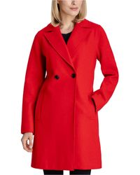 BCBGeneration Raw-edge Double-breasted Walker Coat - Red