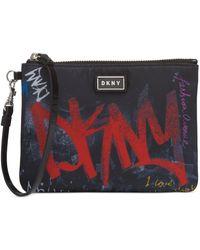 DKNY Gigi Graffiti Logo Wristlet, Created For Macy's - Black