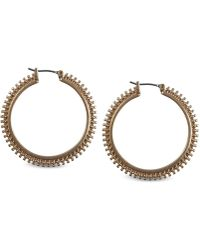 Lucky Brand - Rose Gold-tone Studded Hoop Earrings - Lyst