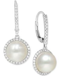 Macy's - Cultured Freshwater Pearl (9mm) And Diamond (1/2 Ct. T.w.) Halo Drop Earrings In 14k White Gold - Lyst