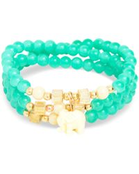 Zenzii Gold-tone Elephant Charm Beaded Multi-row Bracelet - Green