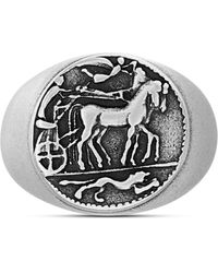 Steve Madden Textured Greek Coin Ring In Stainless Steel - Black