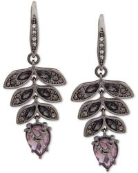 Jenny Packham - Hematite-tone Crystal Leaf Drop Earrings - Lyst