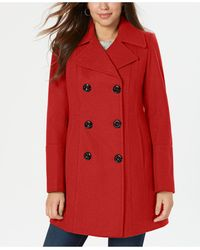 Anne Klein Double-breasted Peacoat, Created For Macy's - Red