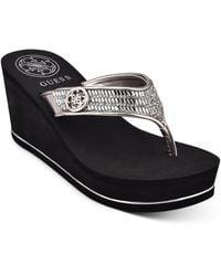 Guess Sarraly Eva Logo Wedge Sandals - Black