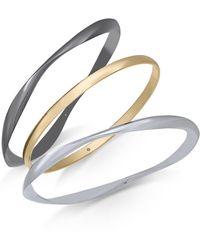 Alfani Tri-tone 3-pc. Set Pavé Bangle Bracelets, Created For Macy's - Blue