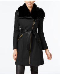 Via Spiga | Kate Faux-fur-collar Mixed-media Coat | Lyst