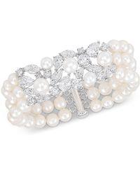 Arabella Cultured Freshwater Pearl (6-8mm) & Swarovski Zirconia Cuff Bracelet In Sterling Silver, Created For Macy's - Metallic