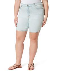 Jessica Simpson Trendy Plus Size Adored Slim Bermuda Shorts - Blue