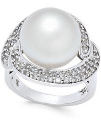 Macy's - Cultured South Sea Pearl (13mm) And Diamond (5/8 Ct. T.w.) Ring In 14k White Gold - Lyst