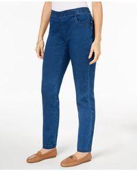 Karen Scott Petite Pull-on Straight-leg Jeans Short, Created For Macy's - Blue