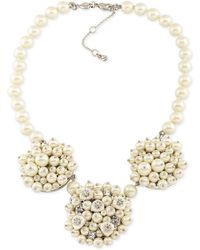Carolee - Silver-tone Imitation Pearl And Crystal Cluster Necklace - Lyst