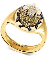 Swarovski - Gold-tone Crystal & Imitation Pearl Scarab Beetle Signet Ring - Lyst